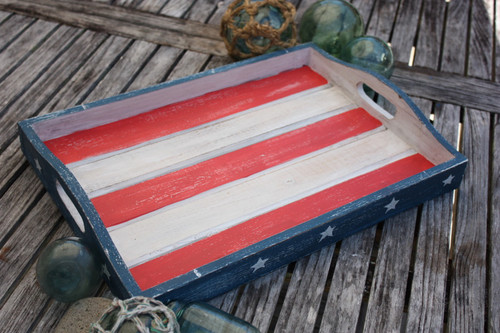 "Americana Wooden Tray 20"" - Beach House Decor"