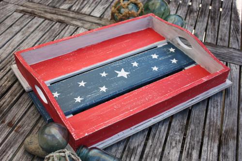 """Americana Wooden Tray 20"""" - Beach House Decor 2"""