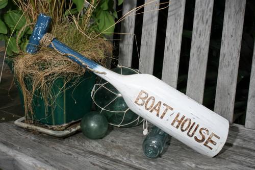 """BOAT HOUSE"" PADDLE 22"" BLUE - NAUTICAL WALL DECOR"