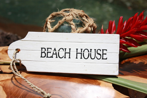 """Beach House"" Door Tag Wood Sign 8"" - Rustic Coastal"