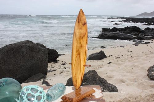"""Surfboard Trophy 12"""" w/ Base - Teak Root Wood"""