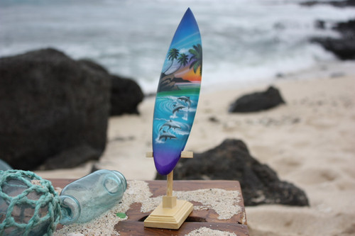 "Surfboard w/ Stand Island Lifestyle Design 8"" - Trophy"