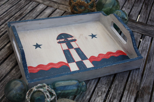 "Americana Wooden Tray 20"" - Light House Decor"