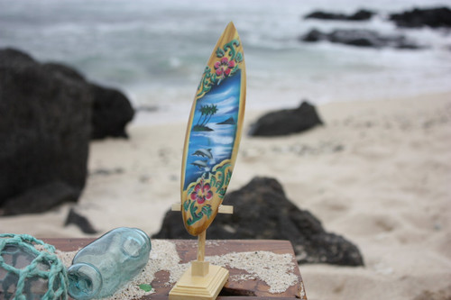 "Surfboard w/ Stand Dolphins & Hibiscus Design 8"" - Trophy"