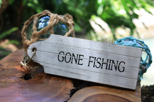 """Gone Fishing"" Door Tag Wood Sign 8"" - Rustic Coastal 