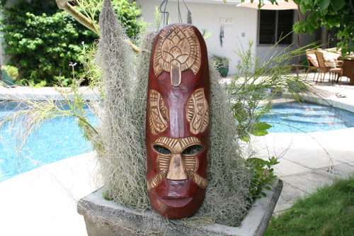 "FIJIAN TIKI MASK W/ CARVED TURTLE - 20"" OCEAN - POLYNESIAN ART"