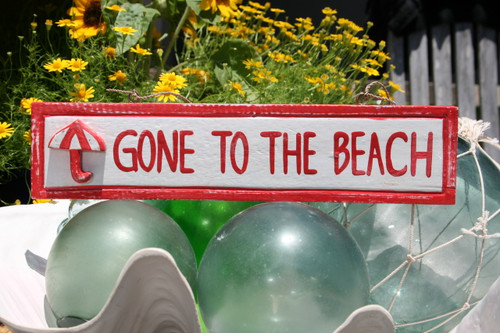 """GONE TO THE BEACH"" NAUTICAL SIGN 12"" RED - BEACH DECOR"