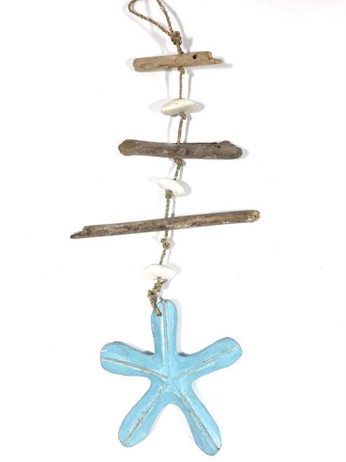 "Driftwood Garland w/ Sea star & White Stone 20"" Blue | #lis3100850"