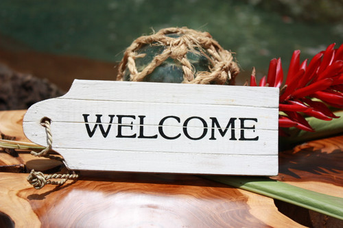 """Welcome"" Door Tag Wood Sign 8"" - Rustic Coastal"