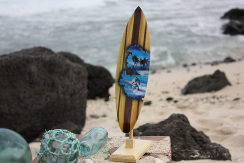 "Surfboard w/ Stand Dolphins Design 12"" - Trophy"