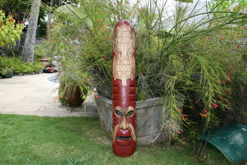 "FIJIAN TIKI MASK W/ 2 CARVED TURTLES - 40"" FISHING/OCEAN - POLYNESIAN ART"