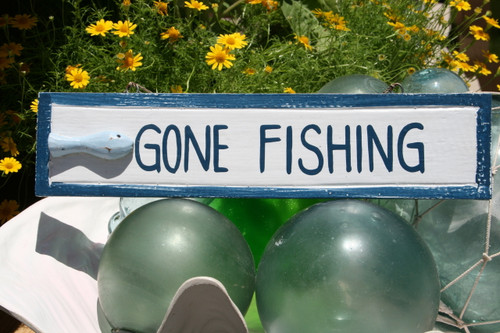 """GONE FISHING"" NAUTICAL SIGN 12"" BLUE - BEACH DECOR"