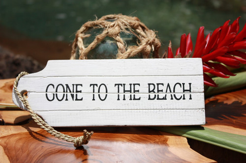 """Gone To The Beach"" Door Tag Wood Sign 8"" - Rustic Coastal"