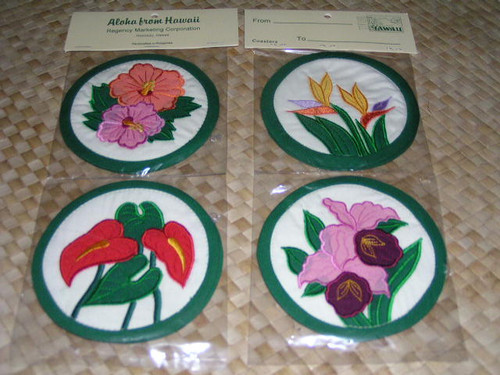 FLORAL COASTERS - SET OF 4 - HAWAIIAN QUILT