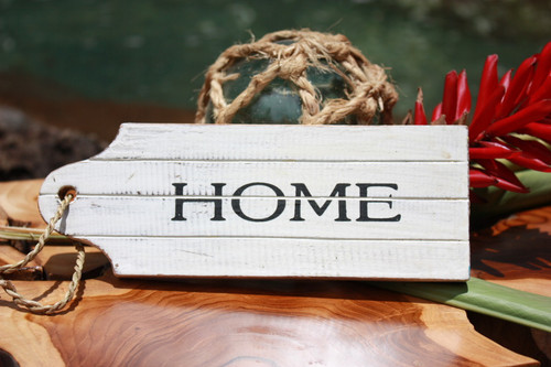 """Home"" Door Tag Wood Sign 8"" - Rustic Coastal"