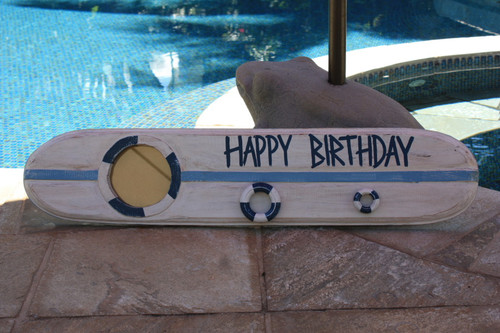 """Happy Birthday"" Nautical Sign w/ Built-In Photo frame 40"" 
