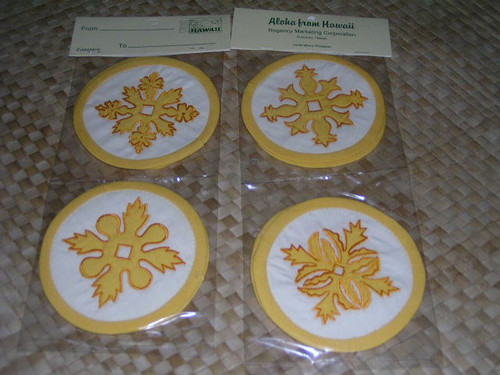 YELLOW HAWAIIAN QUILT COASTERS - SET OF 4