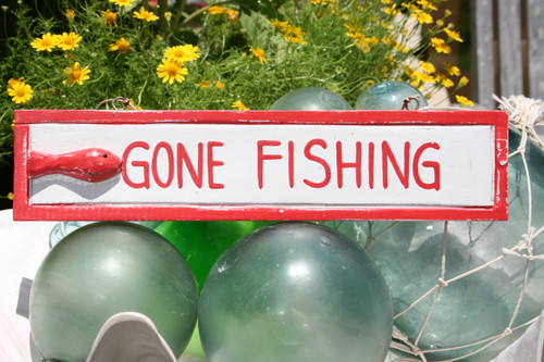 """GONE FISHING"" NAUTICAL SIGN 12"" RED - BEACH DECOR"