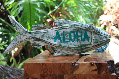 """Aloha"" Beach Fish Sign - 16"" - Coastal Decor"