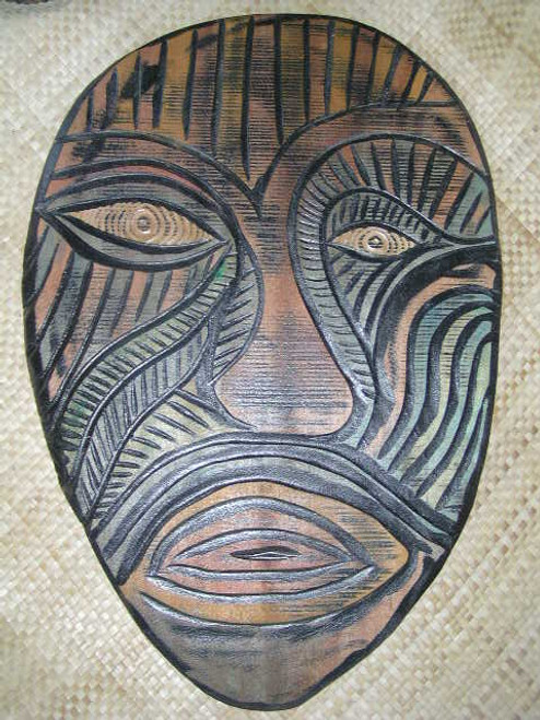 "MODERN TIKI MASK 34"" - HAND PAINTED & CARVED - ABSTRACT"