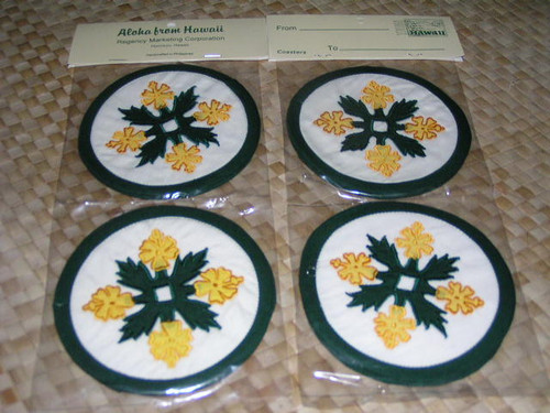 YELLOW/GREEN HAWAIIAN QUILT COASTERS - SET OF 4 - BREADFRUIT