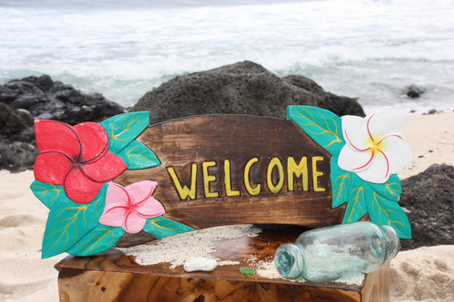 """Welcome"" Sign w/ Plumeria Flowers 16"" - Tiki Bar Decor"