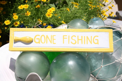 """GONE FISHING"" NAUTICAL SIGN 12"" YELLOW - BEACH DECOR"