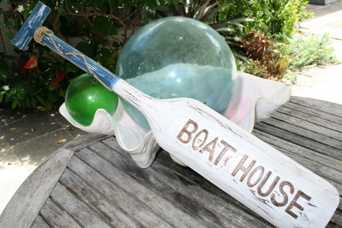 """BOAT HOUSE"" PADDLE 32"" BLUE - NAUTICAL WALL DECOR"