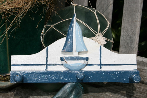 """SAILBOAT"" HANGER - 12"" WHITE & BLUE NAUTICAL DECOR"