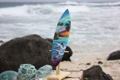 "Surfboard w/ Stand Island Lifestyle Design 12"" - Trophy"