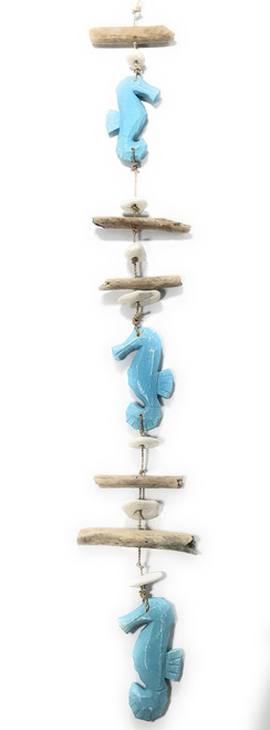 "Driftwood Garland Seahorse w/ White Stone 40"" Blue - Rustic Cottage Accents 