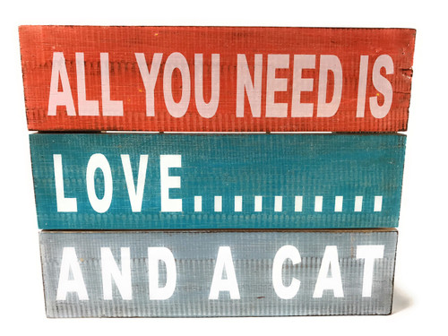 """""""All You Need is Love... And A Cat"""" Beach Sign on Wood Planks 12"""" X 9.5"""" 