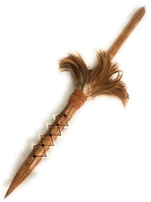 "Koa Spear 24"" w/ Shark Teeth & Brown Feathers | #koa38s"
