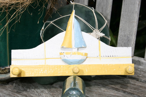 """SAILBOAT"" HANGER - 12"" WHITE & YELLOW NAUTICAL DECOR"