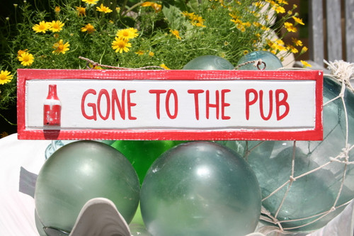 """GONE TO THE PUB"" NAUTICAL SIGN 12"" RED - NAUTICAL DECOR"