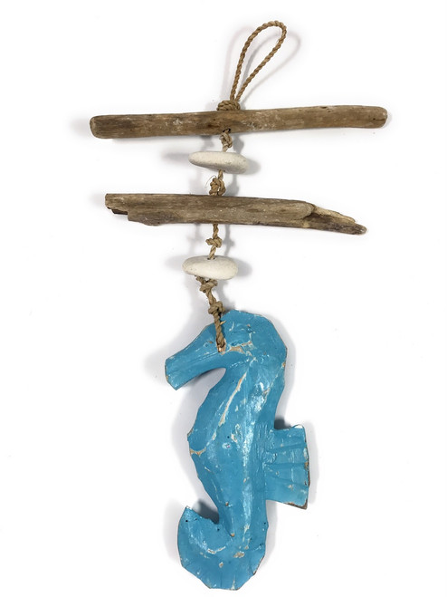 "Driftwood Seahorse Garland w/ White Stone 12"" Blue | #lis3101030"