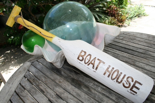 """BOAT HOUSE"" PADDLE 32"" YELLOW - NAUTICAL WALL DECOR"