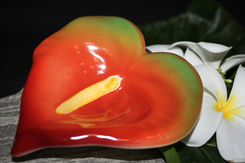 "Anthurium Red Ceramic Bowl 5"" - Hawaii | #TCABSR"