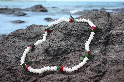 Silk Leis 2-Strand Pikake with Rosebud, White/Red - Silk Hawaiian Leis