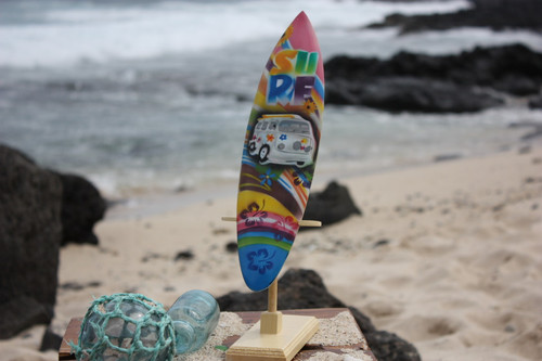 "Surfboard w/ Stand 70's VW Van Design 12"" - Trophy"