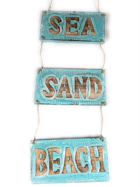 """Sea, Sand, Beach"" Hanging Beach Sign 20"" X 6"" 