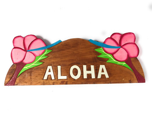 """Aloha"" w/ Hibiscus Wooden Sign 11"" X 4.5"" - Pink 