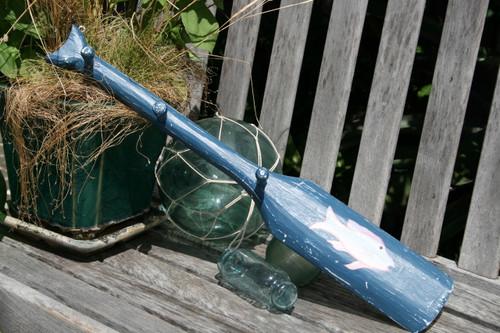 """NAUTICAL OAR HANGER W/ FISH 22"""" BLUE - NAUTICAL WALL DECOR"""