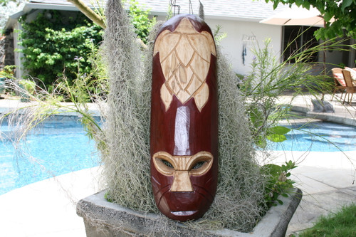 "FIJIAN TIKI MASK W/ CARVED TURTLE - 20"" LUCKY - POLYNESIAN ART"
