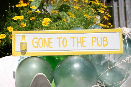 """GONE TO THE PUB"" NAUTICAL SIGN 12"" YELLOW - NAUTICAL DECOR"
