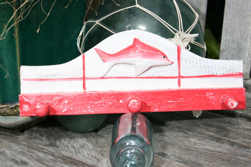 """OCEAN FISH"" HANGER - 12"" WHITE & RED NAUTICAL DECOR"