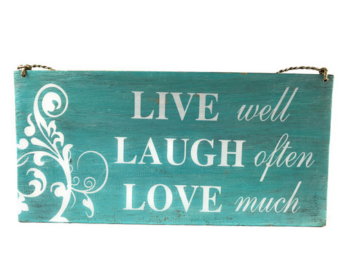 """Live Laugh Love"" Beach Sign on Wood 16"" X 8"" 