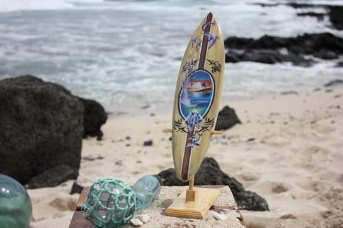 "Surfboard w/ Stand Splashing Dolphins Design 16"" - Trophy"