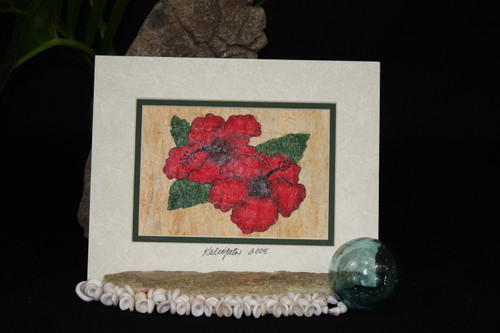 RED HIBISCUS FLOWERS TAPA CLOTH HAWAIIAN - 10 X 8 PAINTING