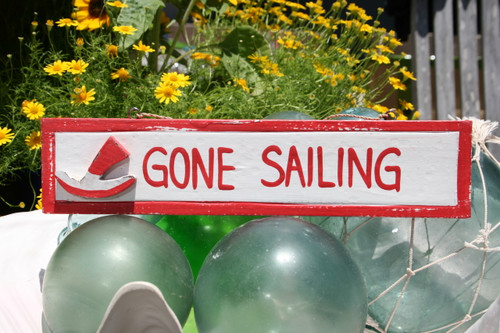 """GONE SAILING"" NAUTICAL SIGN 12"" RED - NAUTICAL DECOR"